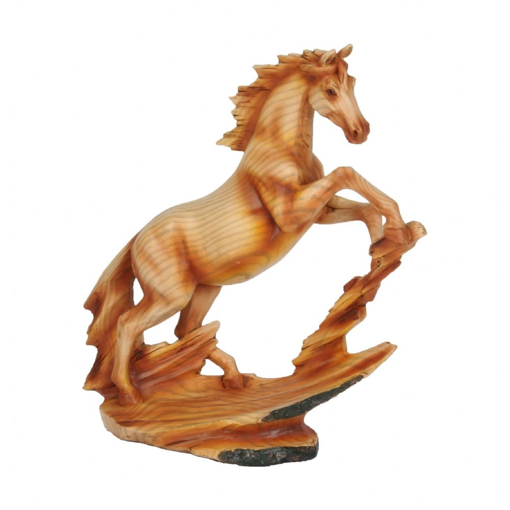 Wood Effect Horse Figurine - Rearing Stallion